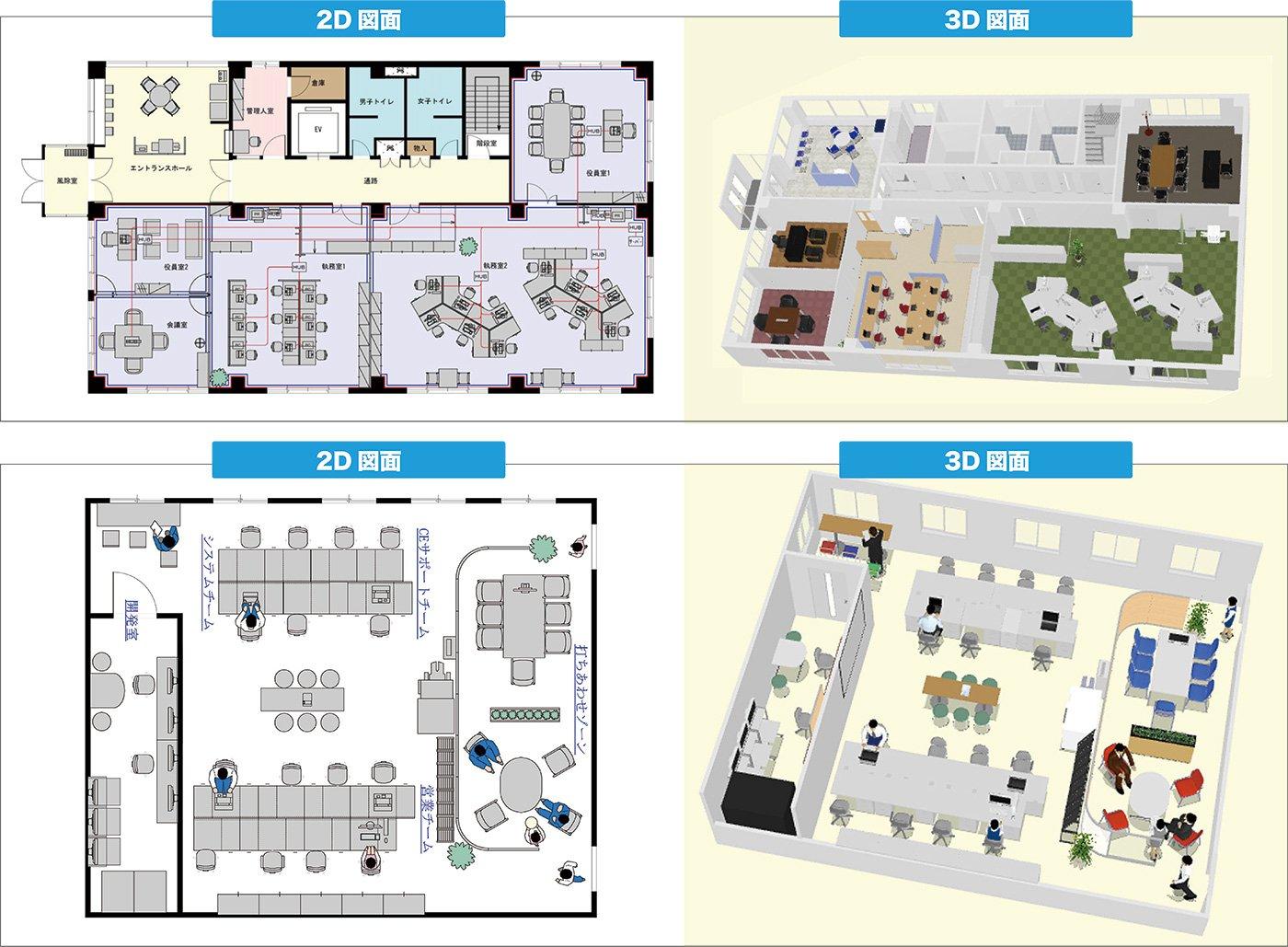 オフィスレイアウト(2D&3D)
